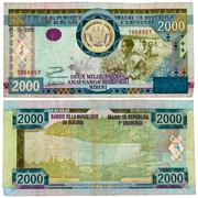 Banknote 2000 francs issued by central bank of burundi Stock Photos