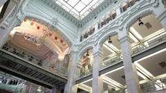 Exterior inside Palace of Connections in Madrid Stock Footage
