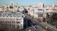 Panorama of city with traffic at Calle de Alcala Stock Footage