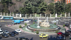 Transport ride near fountain on Cebeles Square at sunny day Stock Footage