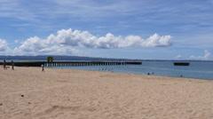 Caribbean beach with pier-Crash Boat Beach-Aguadilla-Puerto Rico - stock footage
