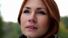 Emotional portrait of a beautiful girl(close-up) Stock Footage