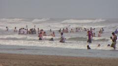 Nicaragua Beach Bathers telephoto - stock footage