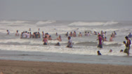Stock Video Footage of Nicaragua Beach Bathers telephoto
