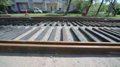 Construction of tramway road at street Krasnobogaturskaya Stock Footage