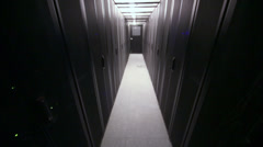 Corridor with rows of racks for telecommunication equipment Stock Footage