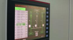 Sensor display of control panel on rack Stock Footage