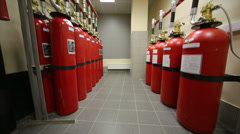 Room with powerful industrial fire extinguishing system Stock Footage