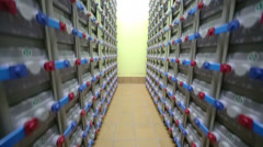 Racks with accumulators of backup power system Stock Footage