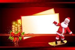 Santa claus standing on skating board with sign Stock Illustration