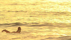 Silhouette Surfer Girl Paddling  At Sunset  Stock Footage