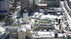 The bell tower and a large number of machines in Russia Stock Footage