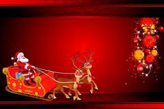 Santa claus with reindeer rudolph sleight Stock Illustration