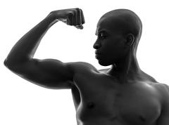 african black man flexing muscle  silhouette - stock photo