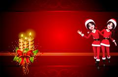 Dancing santa girl - stock illustration