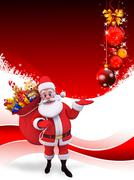 Stock Illustration of santa with many gifts