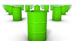 Dolly over many Oil Drums to a single Drum (Green) Stock Footage
