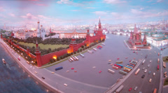 Classical view of Kremlin and Saint Basil Church. Stock Footage