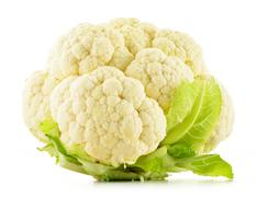 Fresh raw cauliflower isolated on white background Stock Photos