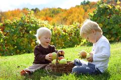 Pienten lasten ulkona leikkimässä klo omenatarhassa Kuvituskuvat