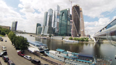Beautiful view of Moscow River and Moscow-City Stock Footage