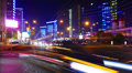 Night traffic in a big city, Moscow, time-lapse. Footage