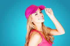Vivacious beautiful blond woman Stock Photos