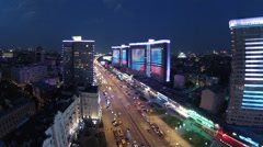 Street traffic in the evening on New Arbat Stock Footage