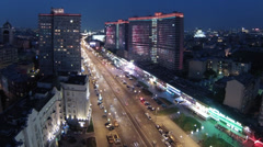 Evening traffic on illuminated New Arbat in Moscow, Russia. Stock Footage