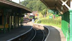 Steam Train Entering Horsted Keynes Station Stock Footage