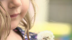 Little Girl with Dandelion Stock Footage