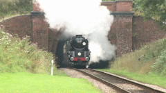 Steam Train Emerging From Tunnel In Slow Motion, Great Steam Stock Footage
