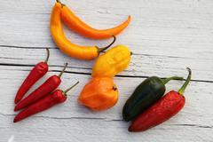 colourful capsicum peppers - stock photo