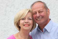 portrait of an attractive senior couple - stock photo