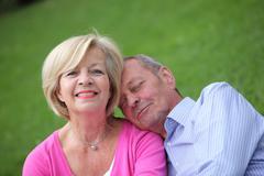 loving senior husband and wife - stock photo