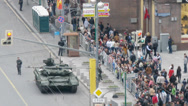 Stock Video Footage of Crowd looking at tank parked on the street in Moscow