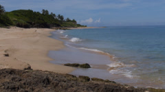 400 year old ruins on tropical Borinquen Beach - Aguadilla Puerto Rico beach 2 Stock Footage