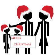 Family merry christmas Stock Illustration