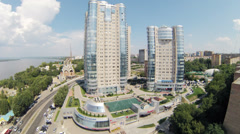 Day view on Ladya living complex in summer Stock Footage