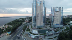 Evening view on Ladya living complex on Volga river shore Stock Footage