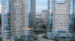 Lights in windows of Ladya living complex in the evening Stock Footage