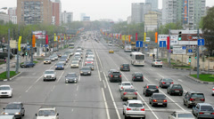 Day traffic on Schelkovskoe street in Moscow, Russia. Stock Footage