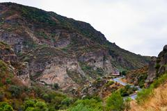 Road in gorge of azat river in armenia. Stock Photos