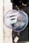 individual electricity supply meter - stock photo