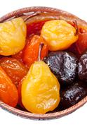 Armenian sugared sweet fruits in bowl Stock Photos