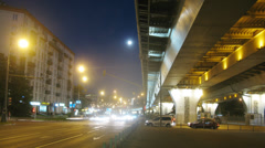 Night view: fast traffic near the estacade in big city Stock Footage