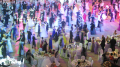 Couples dancing at Vensky ball at Gostiny Dvor Stock Footage