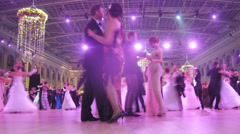 Couples on dancefloor dancing at Vensky ball at Gostiny Dvor Stock Footage