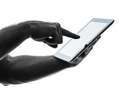 close up hands man touchscreen digital tablet - stock photo