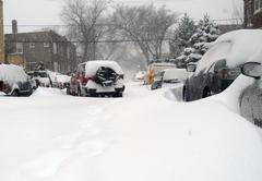 Broken car in a snowdrift - stock photo